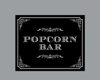 DIY Printable Sign -  Vintage Antique Victorian Cottage Chic Rustic Chalkboard Wedding Reception Popcorn Bar Sign
