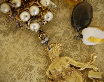 Golden Maiden-Antique Pearl Cluster Brooch and Golden Maiden Brooch Assemblage Necklace