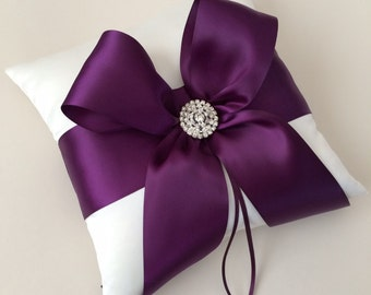 Ivory and Purple Ring Bearer Pillow - Wedding Ring Bearer Pillow