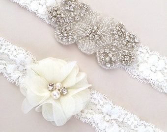 Lace Rhinestone Garter Set - Bridal Garter with Toss Garter