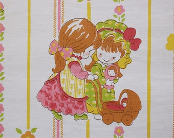 1970's Vintage Wallpaper Retro Children Playful Boys and Girls Pink Yellow and Green