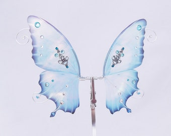 1/12 OOAK Butterfly wings for Dolls  - Atenys  - Crystal Blue Iridescent