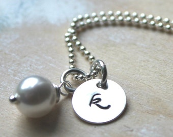 FREE SHIPPING. Bridesmaid Necklace. Sterling Silver Personalized Initial Charm. Swarovski Pearl. Wedding.