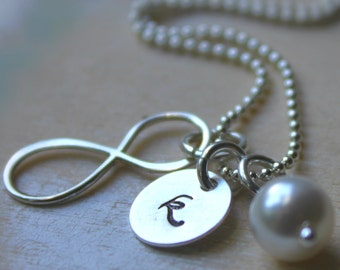 FREE SHIPPING. Bridesmaid Necklace. Sterling Silver Personalized Initial Infinity Charm. Swarovski Birthstone or Pearl. Wedding Bridesmaid