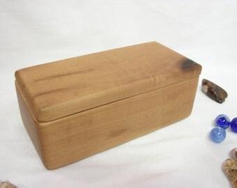 Oregon-Myrtlewood Box, Oregon coast, jewelry box, watch box, blessing box, small pet urn, wood art, office desk organizer, bandsaw box