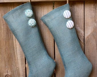 Sea Blue Burlap Holiday Stocking with Your Choice of Button Colors