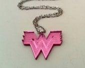 Wonder Woman Pink Powerful Geek Girl Necklace. Shiny Comic Hero Jewelry. Cosplay Mirrored Acrylic Lasercut  Accessory.