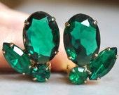 Fabulous Emerald Cut Glass and Rhinestone Earrings