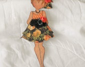 Handmade Beautiful Prima Julie Rose Lace Dress Paper Doll Embellishment