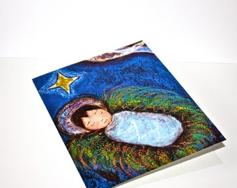 Baby Jesus Sleeping - Greeting Card 5 x 7 inches - Folk Art By FLOR LARIOS