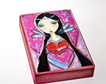 Sharing Hearts - ACEO Giclee print mounted on Wood (2.5 x 3.5 inches) Folk Art  by FLOR LARIOS