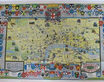 Vintage Bartholomews Historical Map of London Cloth 1969 Map