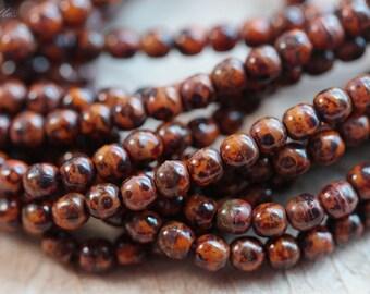 ROASTED PUMPKIN BITS .. 50 Picasso Czech Druk Glass Beads 3mm (4270-st)