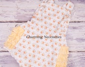 Baby Girl Clothes, Toddler Girl Clothes, Sunsuit Bubble Romper with Ruffles Spring Summer Easter Dainty Lady Yellow by Charming Necessities