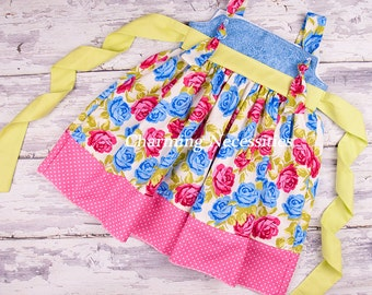 Toddler Girl Clothes, Girls Dress, Girls Knot Dress in Jubilant by Charming Necessities Toddler Girl Boutique Clothing