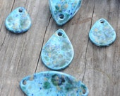 5 piece set pottery bead in Blue Caprice. The Almendra, ceramic beads