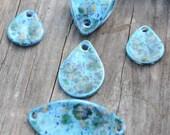 5 piece set pottery bead in Blue Caprice. The Almendra, ceramic beads