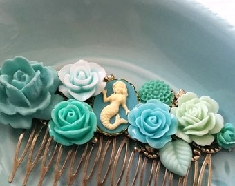 Teal Blue Green Mermaid Cluster Hair Comb - Fascinator Kitschy Cool Pink Offbeat Wedding Bride Rockabilly Ethereal Fae