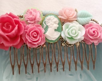 Pink Green Cameo Cluster Hair Comb - Fascinator Kitschy Cool Pink Offbeat Wedding Bride Cottage Chic Pretty