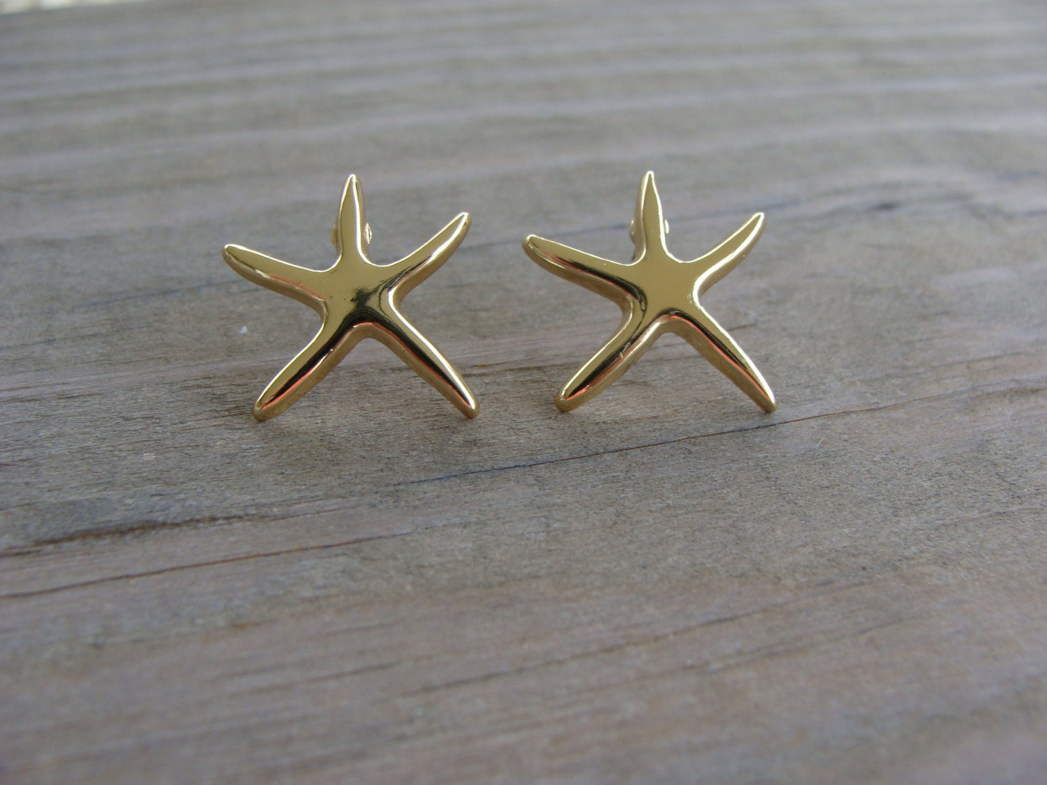 Gold Starfish Wall Decor : Gold starfish star fish earrings post stud nautical vintage