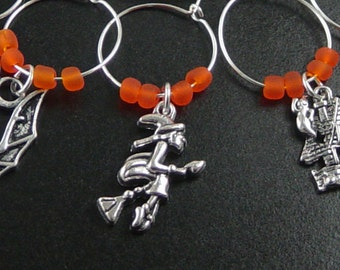 Wine Charms 10 Silver HALLOWEEN Orange Beads Stemware Glass Gifts Wedding Favors (1026win20s1)