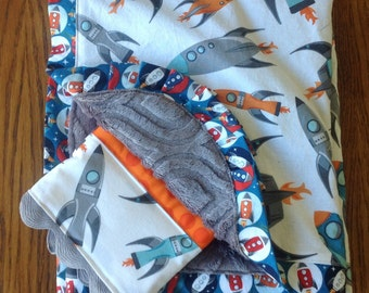 Rocket Minky Blanket and Burp Cloth Set...Can Be Personalized