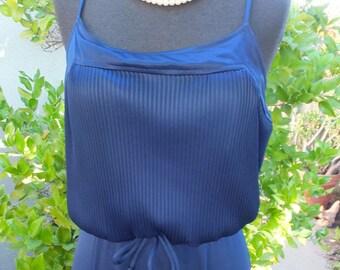 1970s NAVY BLUE Maxi Dress / Boho Sundress, Hostess Dress, Knit Maxi Dress / 13/14