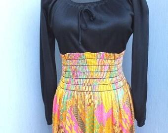 Vintage 1960s Maxi Dress, Peasant Style Boho, Bohemian, Hippie, Gypsy, Wench, Long Dress, Novelty Print,