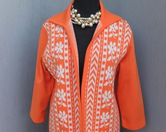 Vintage Orange and White Poly Knit Two Pc Suit size Large, 38 Bust skirt 28 Waist