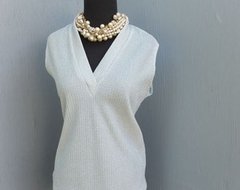 Vintage Silver Metallic Shell or Sleeveless Top, Daisy's Originals of Miami up to 40 inch bust
