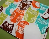 Buy 2 FREE SHIPPING Special!!   Mouse Pad, Computer Mouse Pad, Fabric Mousepad      Swedish Owls Brown