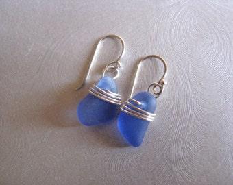 Small Sea Glass Earrings , Beach Glass , Dangle Earrings , Rare Cornflower Blue , Beach Glass Jewelry