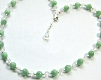 Pale Green Necklace, Natural Aventurine and Crystal Necklace, Semi Precious Stone Beaded Necklace
