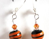 On Sale Orange and Black Striped Earrings, Lampwork Bead Earrings,  Dangle Earrings, Handmade Beads