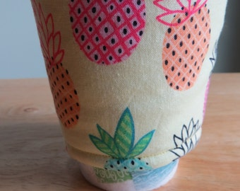 Handmade Coffee Cozy or Sleeve in Green, Orange, and Pink Pineapples , Coffee Sleeve, Cup Sleeve