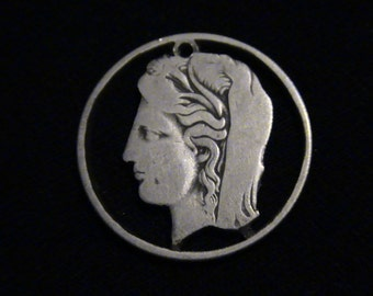 GREECE - cut coin pendant - DEMETER - Greek Goddess of Harvest - SILVER - Brand New