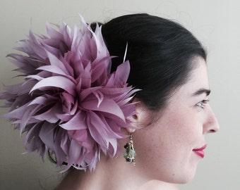 FLEUR de PLUME,  Vogue Goose feather fascinator,  Antique Fig  Purple / FDP - 26