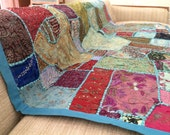 Indian teal blue vintage patchwork hand embroidered throw runner wall hanger textile