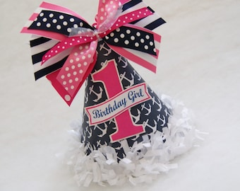 NEW Navy and Hot Pink Nautical Birthday Party Hat - anchors, nautical, polka dots, preppy stripes, tissue fringe