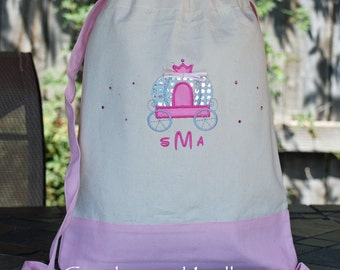 Girls Custom personalized Disney princess canvas backpack tote cinch sak Mickey minnie