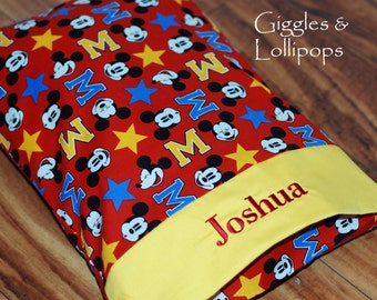 Personalized travel pillowcase disney mickey mouse cruise vacation pillow school daycare babysitter