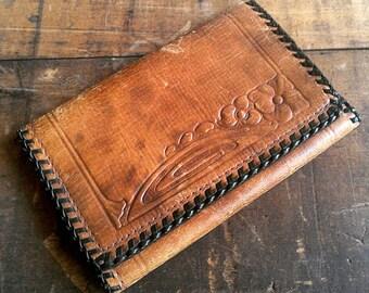 Vintage Tooled Leather Wallet Men's Trifold Genuine Steerhide Art Nouveau Floral Design Braided Trim