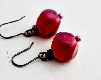 Cherry Earrings, Dangle Earrings, Glass Earrings, Cherry Red, Brass Earrings, Cherry Beads, Wire Wrapped, Drop Earrings, PoleStar