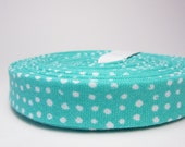 1/2 inch Double Fold Bias Tape - Turquoise Polkadots - 3 yards