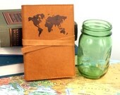 Leather Journal - Leather Sketchbook Cover - Personalized - Travel Journal - World Map