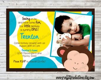 Mod Monkey Custom photo birthday party invitation - digital file