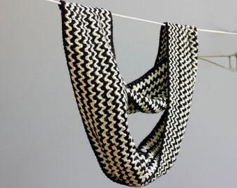 Circle Scarf, Crochet Cowl Scarf, Black White Chevron Infinity Scarf, Long Winter Scarf, Moebius, Ready to Ship