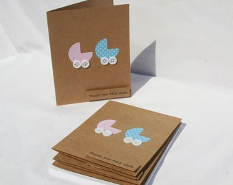 Twins Baby Shower Thank You Cards - Twins Thank You Cards - Thank You Cards - Baby Shower Cards - Pink and Blue Thank You Cards - 25