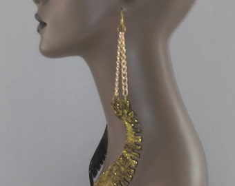 Uniquely Shape Black Wooden Earrings Embellished with Beautiful Gold Glitter and Gold Chain, Womens Earrings, Long Earrings, Large Earrings