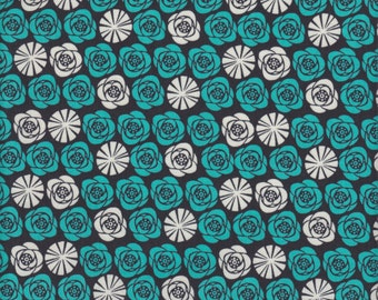 Camelot Cottons Birds of a Feather Roses in Graphite - Half Yard